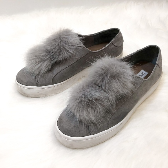 26b7cf0a0d4 STEVE MADDEN Gray Pom Pom Sneaker. M 5a76d28972ea885a63d30a15. Other Shoes  ...